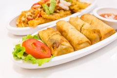 Fried Chinese Traditional Spring rolls food  on white ba Royalty Free Stock Photos