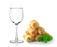 Fried Chinese Traditional Spring rolls food  on white ba Royalty Free Stock Photography