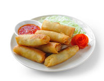 Fried Chinese Traditional Spring rolls food. On white background stock images
