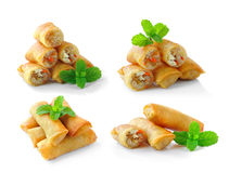 Fried Chinese Traditional Spring rolls food. On white background royalty free stock images