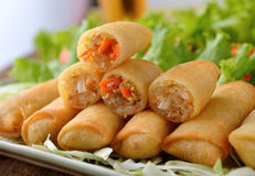 Fried Chinese Traditional Spring rolls food. On white plate royalty free stock photo