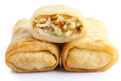 Fried chinese vegetable spring rolls on white. Stock Photography