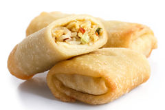 Fried chinese vegetable spring rolls on white. Royalty Free Stock Photos