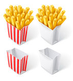 Fried chips in paper bag Royalty Free Stock Photo