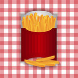 Fried chips in paper red bag Stock Photos