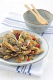 Fried clams on white plate in the restaurant Stock Images