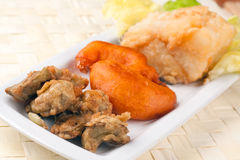 Fried Cob, Battered Artichoke and Prawn Tail Royalty Free Stock Photography