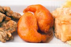 Fried Cob, Battered Artichoke and Prawn Tail Royalty Free Stock Images
