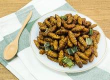 Fried Coconut Worms profondo su un piatto bianco fotografie stock libere da diritti
