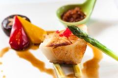 Fried cod. With asparagus,mushroom,  pepper Stock Photo