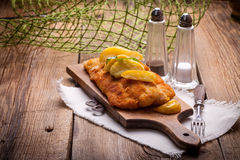 Fried cod fillet. Royalty Free Stock Image
