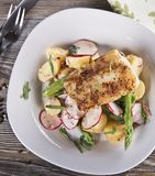 Fried Cod Fillet with Vegetables. Top view stock images