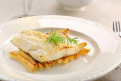 Fried cod fillet on a white plate and french fries.  Royalty Free Stock Photos