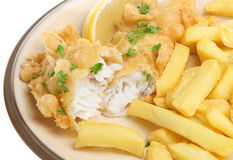 Fried Cod Fish & Chips. Battered cod fillet with chips Royalty Free Stock Images