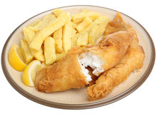 Fried Cod Fish & Chips Isolated su bianco fotografia stock
