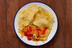 Fried codfish with vegetables Stock Photography