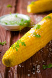 Fried corn cobs with sea salt and herbs Royalty Free Stock Images