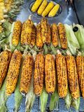 Fried corn on cuty streets as traditional Istanbul street food royalty free stock photo