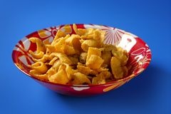 Fried corn golden snack in plate Stock Photos