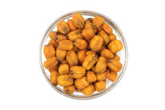 Fried corn grain in a glass container Stock Photo