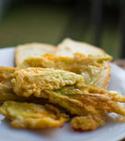 Fried courgette flowers Royalty Free Stock Photos
