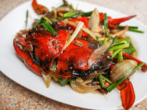 Fried crab with black pepper Stock Photos