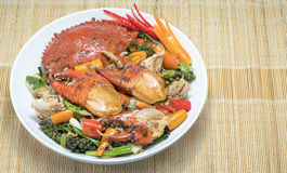 Fried crab  with black pepper,Stir fried crab with black pepper Royalty Free Stock Image