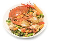 Fried crab  with black pepper,Stir fried crab with black pepper Stock Photos