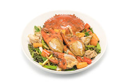 Fried crab  with black pepper on white background Royalty Free Stock Images