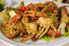 Fried crab with curry powder Stock Photo