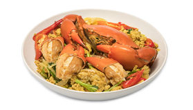 Fried crab with curry powder. Stock Photos