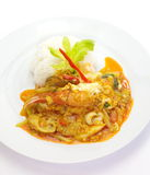 Fried crab with curry powder Stock Images
