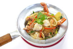 Fried Crab and grass noodles Royalty Free Stock Photography