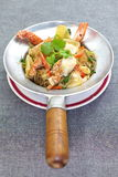 Fried Crab and grass noodles Royalty Free Stock Images