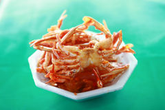 Fried crab green baclground Royalty Free Stock Photography