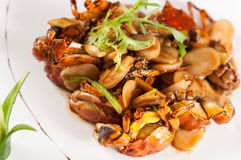 Fried crab with rice cake Stock Photo
