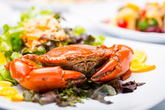Fried crab and sald vegetable Royalty Free Stock Photos