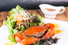 Fried crab and sald vegetable Royalty Free Stock Images