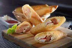 Fried Crab Sticks com salsichas Fotografia de Stock Royalty Free