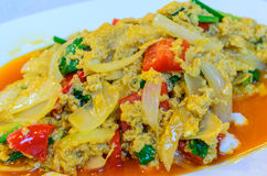 Fried crab in yellow curry (Stir-fried crab curry) Stock Images