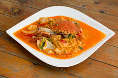 Fried crab in yellow curry, Stir-fried crab curry. In Thai style restaurant Stock Image