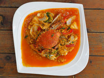 Fried crab in yellow curry, Stir-fried crab curry. In Thai style restaurant Stock Images