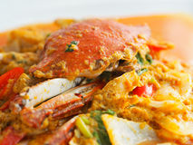 Fried crab in yellow curry, Stir-fried crab curry. In Thai style restaurant Royalty Free Stock Photos