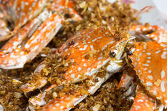 Fried crabs with garlic Royalty Free Stock Images