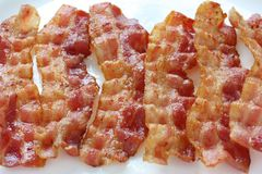 Fried crispy bacon Stock Photos