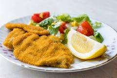 Fried Crispy Sardine Fish Plate mit Salat und Zitrone/Meeresfrüchten Sardalya Lizenzfreie Stockfotografie