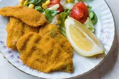 Fried Crispy Sardine Fish Plate mit Salat und Zitrone/Meeresfrüchten Sardalya Lizenzfreie Stockbilder