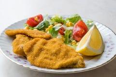 Fried Crispy Sardine Fish Plate mit Salat und Zitrone/Meeresfrüchten Sardalya Stockbilder