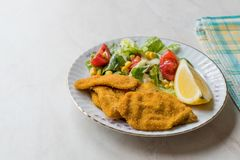 Fried Crispy Sardine Fish Plate mit Salat und Zitrone/Meeresfrüchten Sardalya Stockbild