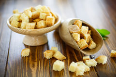Fried croutons of homemade bread Stock Photo